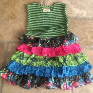 Persnickety Dresses - Persnickety Ruffle Dress 5 years Teal Lime Pink